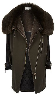 River Island Womens Khaki faux-fur lined parka winter coat Long Winter  Coats, Winter 45453391f95f