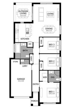 Can Can - Narrow lot house plans 3 Bedroom Floor Plan, Narrow Lot House Plans, Floor Layout, Storey Homes, Watford, Carlisle, Room Colors, Remodeling, Building A House