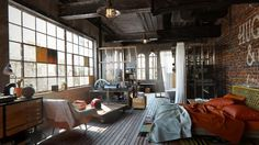Here are 40 of our best picks for most beautiful loft living spaces! Read what is a loft apartment and loft style. Get ideas for your loft homes. Loft Estilo Industrial, Industrial Bedroom Design, Modern Industrial, Industrial Furniture, Casa Loft, Loft House, Ny Loft, Living Room Designs, Living Spaces