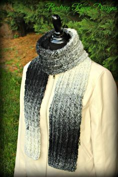 Ombre Ridges Scarf  The simple and elegant style of this cozy crochet scarf will wrap you in warmth all winter long!! This Free Crochet Pattern works up quickly using bulky yarn that has a s...