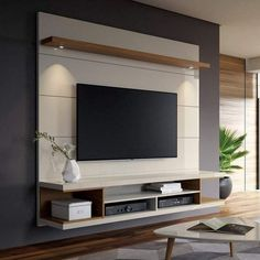 George Oliver Lemington Entertainment Center for TVs with up to 65 # living space designs - Living room tv wall - Entertainment Living Room Tv Wall, Living Room Tv, Living Room Tv Unit Designs, Modern Tv Wall Units, Living Room Designs, Tv Room, Tv Room Design, Wall Design, Room Design