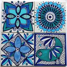 Set of 4 gloss tiles square) with foam backing. Painting Ceramic Tiles, Clay Tiles, Pottery Painting, Ceramic Art, Decoupage, Posca Art, Madhubani Painting, Tile Coasters, Ceramic Coasters