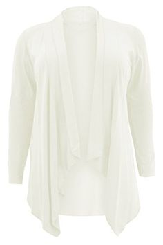 237944a0166 Serendipity Womens Plus Size Long Sleeve Water Fall Hanky Hem Cardigans  Ladies White