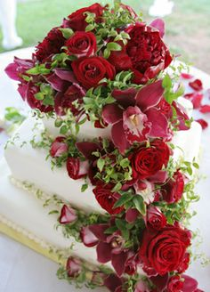 Blue Sky red rose wedding cake