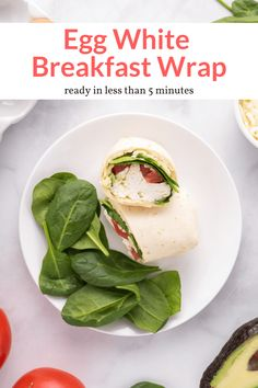 This easy breakfast sandwich can be made in the microwave or a skillet! Ready in 5 minutes with egg whites, tomatoes, avocado, spinach, and mozzarella cheese. Quick Healthy Meals, Good Healthy Recipes, Healthy Breakfast Recipes, Brunch Recipes, Vegetarian Recipes, Healthy Eating, Protein Breakfast, Healthy Fats, Egg White Breakfast