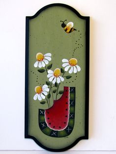 Watermelon and Daisy Sign Handpainted Wood by ToleTreasures