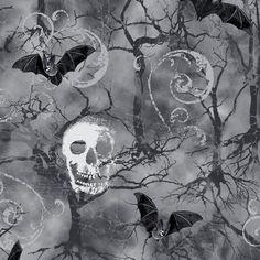 Cotton Fabric Fat Quarter quilting Owl cemetery gravestones Gothic Halloween
