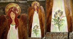 Handpainted wooden angel with decoupage flowers