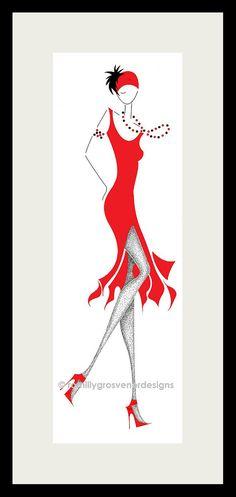 1920s  turban  fashion illustration  red  by ArtFashionByRomilly, £15.00