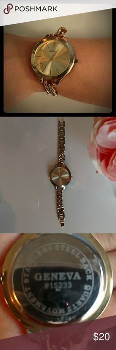 Ladies Geneva oversized watch Flaunt chic accessories in this gold Geneva chain link  watch. Used only once in perfect condition it just needs batteries. Geneva Platinum Accessories Watches