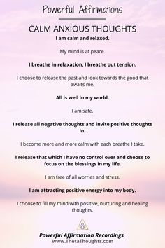 Powerful Affirmations to Calm Anxious Thoughts