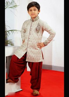 Sherwani with patiala for boys . Shop at - http://www.gravity-fashion.com/15886-sherwani-with-patiala-for-boys.html