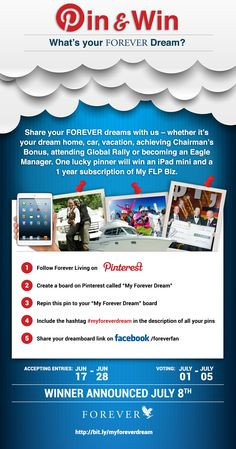 Win an iPad mini and a year of My FLPbiz! Start pinning! #myforeverdream TO WIN YOU MUST TAKE ACTION!!!