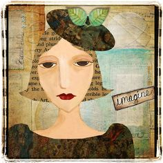 "Digital collage - I painted the face and added cut ""paper"" pieces for hair, hat and dress. Background uses pieces from Createwings Designs."
