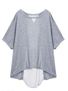 Back Lace Up Chiffon Grey Round Neck Short Bat Sleeve Shirt