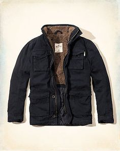 NWT Hollister by Abercrombie Men's Twill Jacket Sherpa-Lined Coat Navy Olive