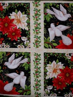 A Peaceful Season Christmas Fabric Panel Doves Red Poinsettia - product images  of