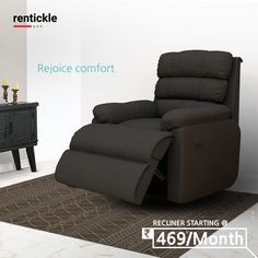 Super comfortable recliners to help you relax after a long day. Whether you prefer to kick your feet up and relax, rock or recline. Rent a recliner today! Thinking of Renting . Think of Rentickle! Recliners, Sofas, Reclining Sofa, Renting, Pune, Home Furniture, Family Room, Modern Design, Relax