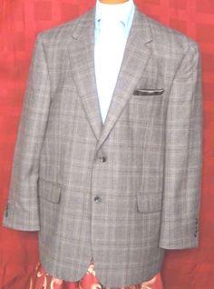 Jos. A. Bank.  Men's 2 Button Brown Glen Plaid Wool Sport Coat Size 44R #JosABank #TwoButton