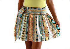 Colorful Tribal Orange Mini Skirt Ready to ship por LoNaDesign