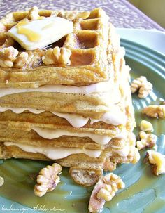 Baking with Blondie: Carrot Cake Waffles with Maple Nut Cream Cheese Spread  I may have to go out and buy a waffle iron for this!!