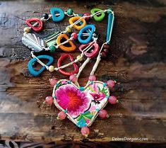 Love Heart Necklace Vintage Embroidery Beaded Vintage Silk