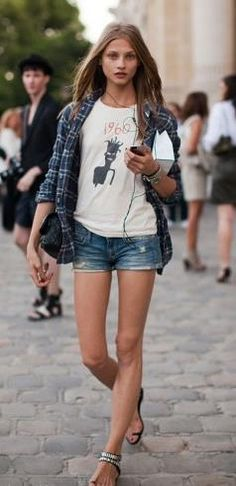 Anna Selezneva. #summer denim shorts, print tee, plaid shirt, sandals, layering