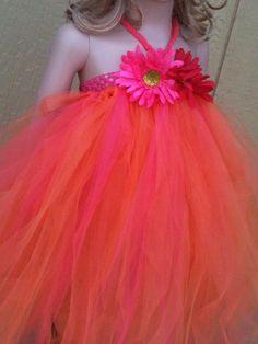 Wedding Flower Girl Orange/Rasberry by pocketfulofposiesbou, $35.00