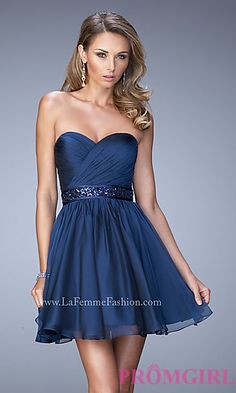 La Femme Strapless Sweetheart Homecoming Dress at PromGirl.com