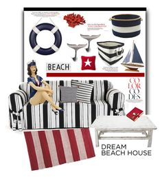 """Dream Beach House'"" by dianefantasy ❤ liked on Polyvore featuring interior, interiors, interior design, home, home decor, interior decorating, Rosanna, Colonial Mills, Bohemia and Frontgate"