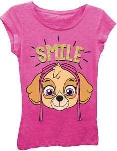 6ae46f2d5c Asstd National Brand Paw Patrol Girls  Skye Smile Short Sleeve Graphic  T-Shirt with Gold Glitter