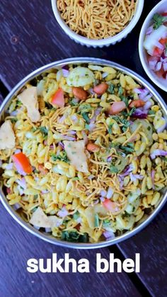 sukha bhel recipe dry bhel puri recipe sukka bhel puri with detailed photo and video recipe. an easy and simple extended or dry version of the popular mumbai street food bhel recipe. bhel is a common street food snack which is typically served as an e Indian Veg Recipes, Indian Dessert Recipes, Indian Snacks, Puri Recipes, Spicy Recipes, Bhel Recipe, Chaat Puri Recipe, Bhel Puri Recipe Video, Comida India