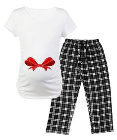 Take a look at this White Bow Maternity Pajama Set - Women on zulily today!