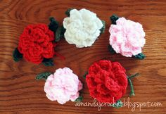 Ravelry: Crochet Rose Applique with Leaves pattern by Amanda French...........free pattern