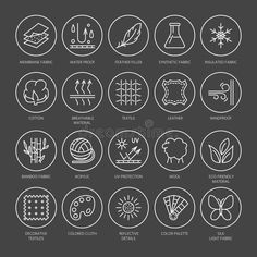 vector line icons of fabric feature garments property symbols. linear wear labels textile industry pictogram with editable stroke for clothes. Tag Design, Icon Design, Hanging Fabric, Fashion Design Portfolio, Pictogram, Line Icon, Hang Tags, Drawing Tips, Designs To Draw