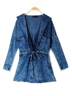 Casual Vintage Fashionable Jeans Trench Hooded Coat