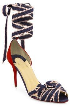 Christeriva Denim & Suede Ankle-Wrap D'Orsay Pumps High Heels, Shoes Heels, Killer Heels, Red Sole, Christian Louboutin Shoes, Peep Toe Pumps, Ankle Strap, Style Me, Slip On