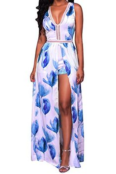 fe1e5ab196 Floral Print Long Maxi Dresses Women 2017 Summer Boho Dress Sleeveless Deep V  Neck Backless Beach Wear A Line Sexy Party Dresses. Jumpsuit ShortsFloral  ...