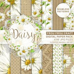 Daisies Digital Paper Pack Watercolor Daisy White by froufroucraft