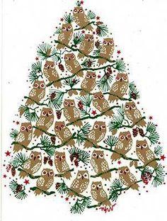 y'owl have a delightful Christmas Eve! Christmas Owls, Very Merry Christmas, Vintage Christmas Cards, Christmas Projects, Winter Christmas, Christmas Time, Owl Crafts, Christmas Crafts, Owl Pictures