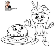 Free Embroidery Pattern, Hamburger and Root Beer Float