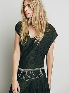 Tangier Belt | Metal chain belt with drippy accents and charms.  Adjustable lobster clasp closure.     *By Free People