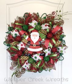 Santa Deco Mesh Christmas Wreath, Christmas wreath for front door, Christmas decoration, Red, Green, Lime Green, Deco Mesh by WhisperCreekWreaths on Etsy