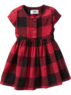 Buffalo-Plaid Twill Dresses for Baby