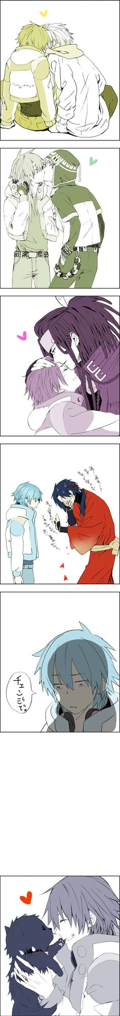 Aoba x everyone  (DRAMAtical Murder) i like all but the second one and my fav is the last one and the third to last