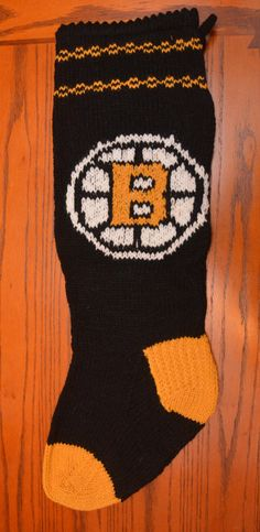 Hand knit Boston Bruins Christmas stocking -- fully lined.