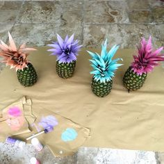 Pretty Painted Pineapples | DIY Beach Party Ideas For Your Beach-Themed Celebration