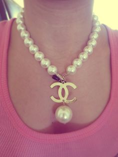 Chanel Inspired Pearl Choker Necklace with Gold Monogram by SoVirgo on Etsy, $50.00