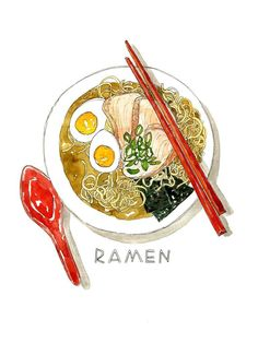 Ramen Watercolor Art Print #watercolorarts