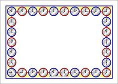 Clock faces A4 page borders (O'clock times) (SB9633) - SparkleBox